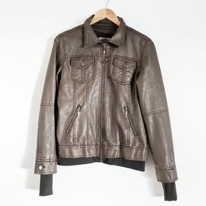 MADE BY JOHNNY Brown Vegan Faux Leather Jacket